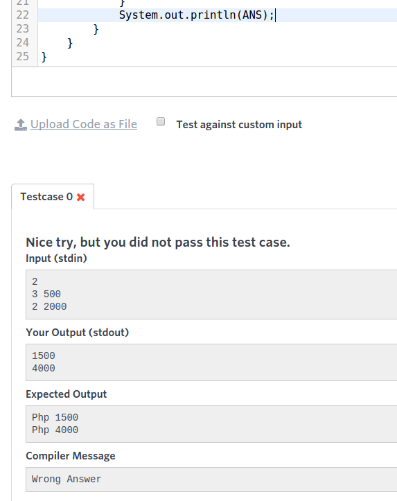 Sample input. Running our code with the sample input, we can clearly see where we went wrong in that specific case.